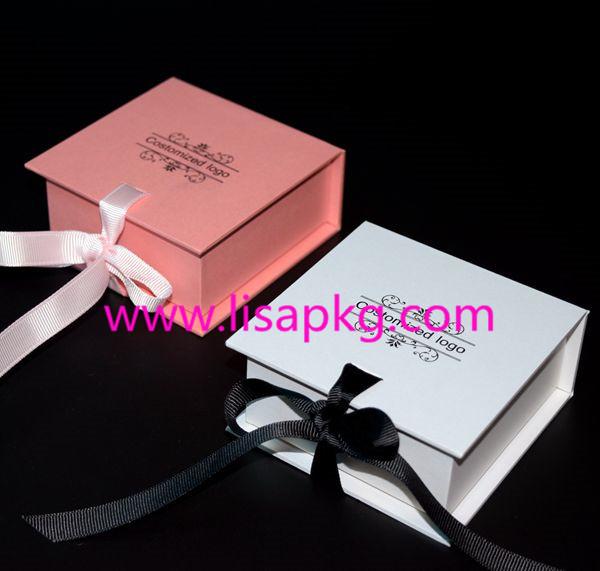 Luxury small jewelry box with ribbon closure