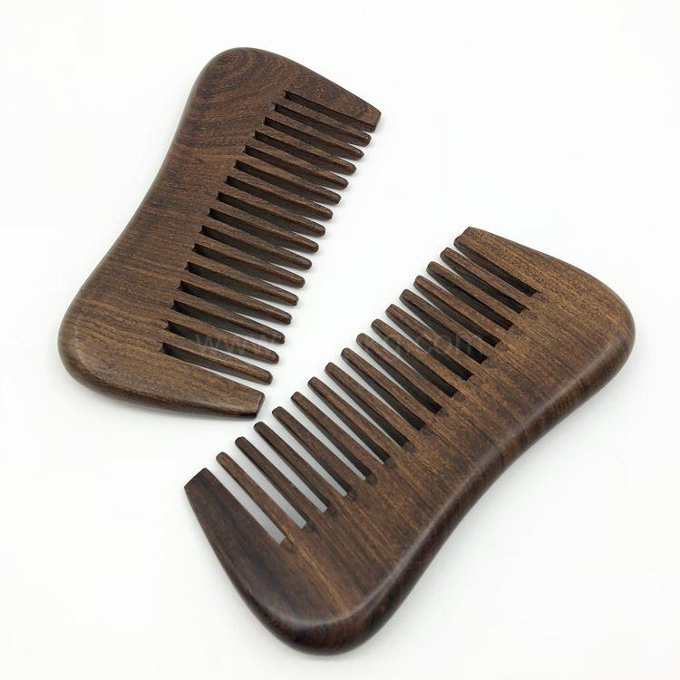 Custom Handmade Mens Double Sided Sandalwood Wooden Beard Hair Comb